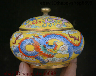 """4"""" Old Chinese Dynasty Bronze Cloisonne Enamel Dragon Loong Storage Jewelry Box"""