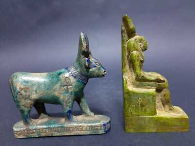 RARE ANCIENT EGYPTIAN ANTIQUES 2 Statues GODDESS HATHOR God Of Joy Dance 1809 BC