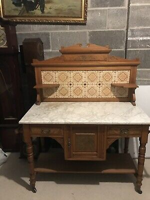 Antique Vintage Victorian Wash Stand With Marble Top and Marble Splash Back