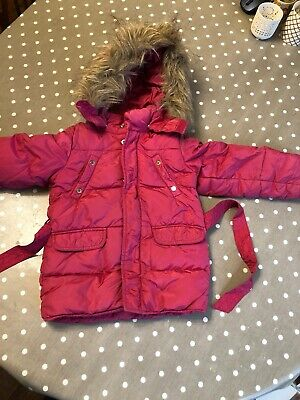 Girls Benetton Age 3 Years Pink Hooded Puffer Coat With Detachable Hood And Fur