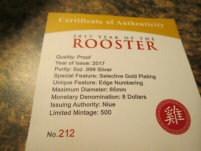 2017 Year Of The Rooster Lunar Series Gilded 5 Oz Silver Coin  Pl 1