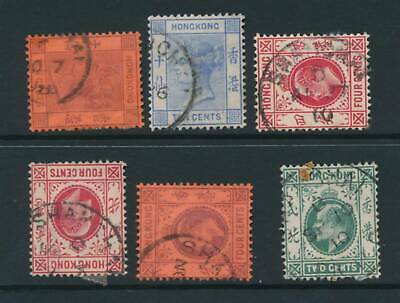 HONG KONG, 1882-1907 six stamps with SHANGHAI postmark #1 fine