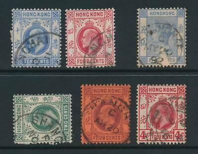 HONG KONG, 1882-1907 six stamps with SHANGHAI postmark #2 fine