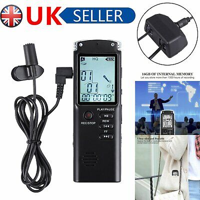 16GB LCD Digital Sound Voice Recorder Rechargeable USB Dictaphone MP3 Player UK