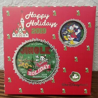 Disney Parks Happy Holidays 2019 Passholder Ornament AND Pin Trading Set LE 1000