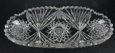 Antique American Brilliant Period Abp Hand Cut Crystal Relish Candy Dish