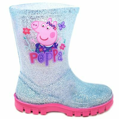 Girls Peppa Pig Blue Glitter Wellington Boots With Pink Sole Unit Rrp £15