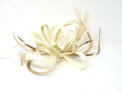 Ivory and gold lurex fascinator on a comb, clip and alice band.