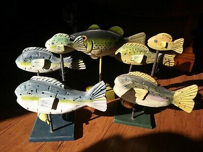 Hand-Carved Hand-Painted Wooden/plaster Fish Art Decor