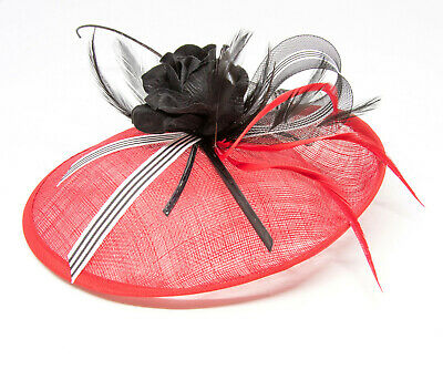 Red black and white stripe hatinator fascinator with comb, clip, alice band.