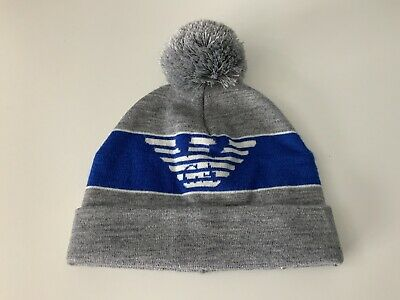 Armani Junior AJ JNR Bobble Hat Wool Age 12 Years GREY & Blue Boys