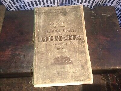 Large Antique Bacon's London And Suburbs Map Book 1880 23 Pages