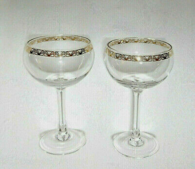 Pair Of Vintage Crystal Champagne Saucers / Coupes / Prosecco Glasses Gilt Rims
