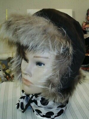 Vtg Original 80s Tella Finland Brown Cream Genuine Raccoon Trapper Hat 57/58cm