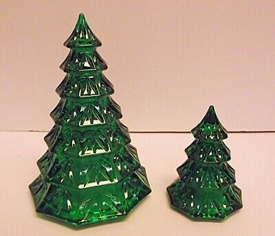 EXCELLENT Waterford Crystal Marquis Emerald Green Pr of Christmas Trees 6.5 3.5