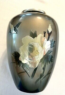 Vintage Japanese Mixed Metal Vase With Peonies Signed Floral Bird