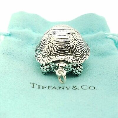 Rare & Old Tiffany & Co. Sterling Silver Turtle Trinket Pill Box Case Key Chain