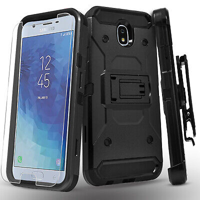 For GALAXY J7 CROWN Case Belt Clip Kickstand Cover + Tempered Glass Protector