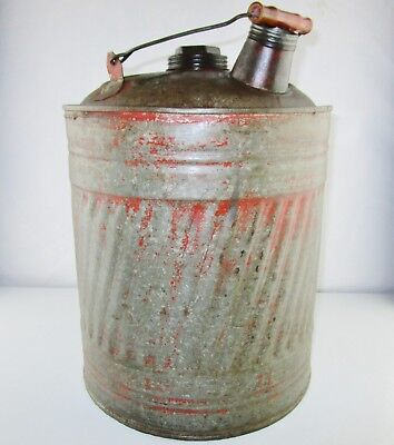 Vintage 5 Gallon Metal Gas Water Oil Kerosene Can Container (Missing Spout)