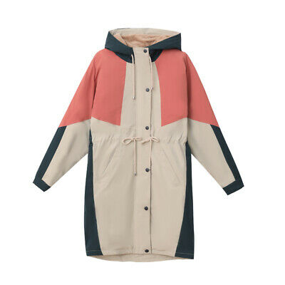 Women Winter Casual Thicken Warm Midi Coat Loose Hooded Hit Color Jacket Outdoor