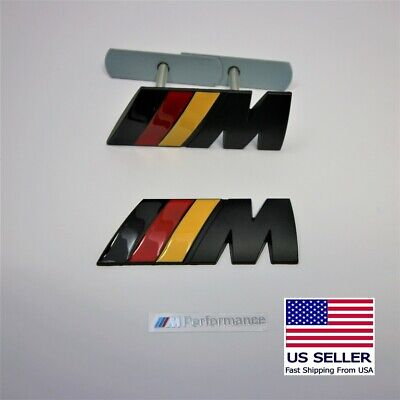 Set of 2 Metal M Badge Front Grille And Rear Trunk Fits BMW M2,3, 4, 5, 6 MPower
