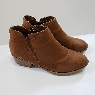 Zoe Zac Girls Size 3 Brown Tan Cognac Faux Suede Booties Ankle Boots
