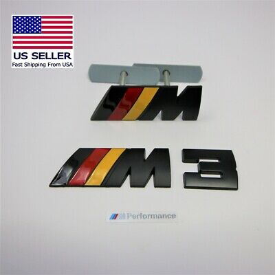 Set of 2 Metal M3 Badge Front Grille And Rear Trunk Fits BMW M3 MPower