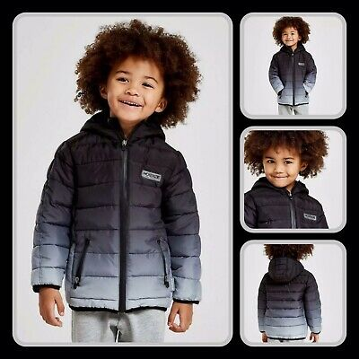 Mckenzie hooded ARKIN quilted boys jacket/coat - BLACK/GREY - 4-5 years -RRP £50