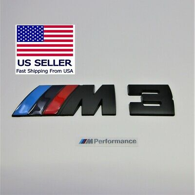 M3 Badge Decal Trunk Emblem Black Metal M-Power fits BMW M 3