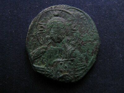 Genuine Ancient Byzantine Bronze Coin,Christ & Cross/Crucifix Obv,Great Detail B