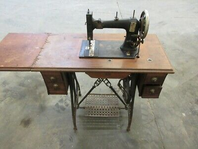 Antique White Treadle Style Sewing Machine And Cabinet W/ Drawers