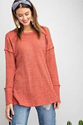 EASEL Ultra Soft Hacci Ribbed Knit Long Sleeve Tunic Top