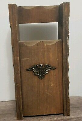 Rare Antique Vintage Wood U.S. Post Office Box Brass Eagle Mail/letter Box