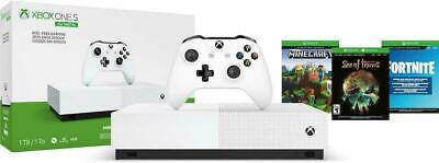 NEW Xbox One S 1TB All Digital Edition Console with 3 Games Fortnite Gift Bundle