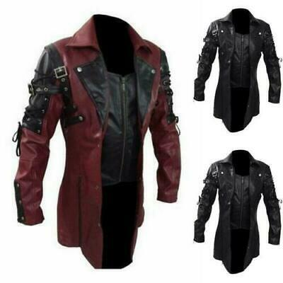 BLACK REAL LEATHER TRENCH COAT STEAMPUNK GOTHIC HUGH JACKMAN VAN HELSING NEW