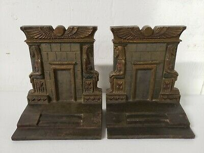 Antique B&H Bradley Hubbard Art Deco Egyptian Revival Cast Iron Statue Bookends