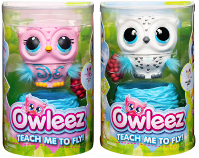 Owleez x 2 White AND Pink Flying Baby Owl Interactive Toy w/ Lights and Sounds