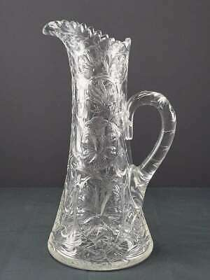 "Antique Libbey American Brilliant Period Abp Cut Glass Pitcher, 13"" Tall"