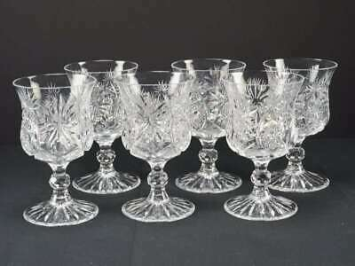 "(6) Antique American Brilliant Period Abp Cut Glass Goblets, 5 3/4"" Tall"