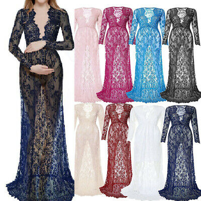 Womens Lady Sexy Deep V Neck Long Sleeve Maternity Gown Lace See-through Dresses