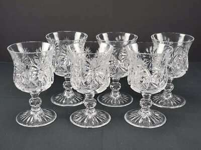 "(6) Antique American Brilliant Period Abp Cut Glass Goblets, 5"" Tall"