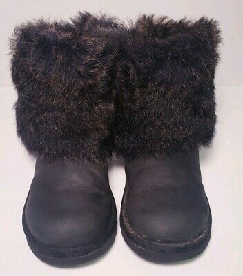 Ugg Australia Ellee Sheepskin Black Leather Fur Trim Winter Boots! Size 4