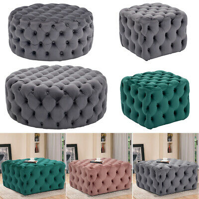 Velvet Chesterfield Footstool Pouffe Seat Coffee Table Ottoman Bench 40cm Height