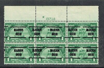 US: Magnificent plate block of 6 precancelled from MARION OH (614-225) scarce XF