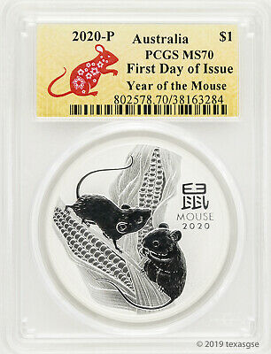 2020-P $1 Australia Year of the Mouse 1 oz Silver Coin PCGS MS70 First Day