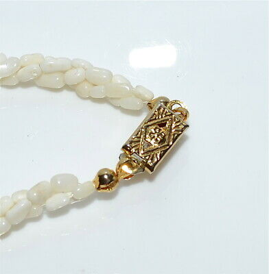 Old Salmon Coral Graduated Barrel Bead Necklace 14 Kt Gold Clasp Chinese 46 Gms