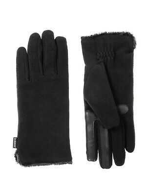 Isotoner Women's Stretch Fleece Gloves with Microluxe and Smart Smartdri Black