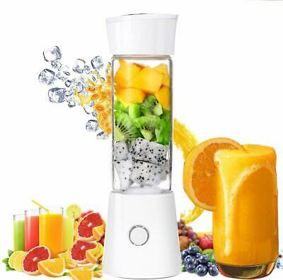 UK Mini Portable Fruit Juicer Vegetable Blender USB Rechargeable 480ML Mixer
