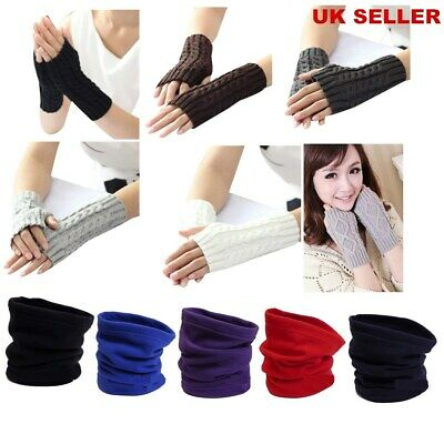 Mens & Ladies Thermal Polar Fleece Snood Scarf Fingerless Gloves Warm Winter Ski
