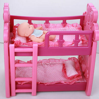 Pink-Double-Dolls-Baby-Bunk-Bed-Toy-With-Pillow-Mattress-Blankets
